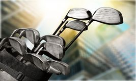 Different golf clubs close-up view. Golf clubs golf club game sport leisure fun Royalty Free Stock Image