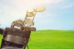 Different golf clubs close-up view. Golf clubs golf club game sport leisure fun Royalty Free Stock Photography