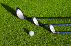Golf clubs in golfbag and golf balls Stock Photos