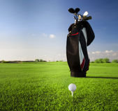 Golf clubs in golfbag and golf balls Royalty Free Stock Photography