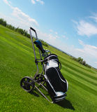 Golf clubs in golfbag on a green grass Royalty Free Stock Images