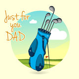 Golf clubs for Happy Fathers Day celebration. Royalty Free Stock Image