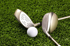 Golf Clubs New With Ball On Tee 3 Stock Images