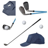 Golf clubs, polo, ball and cap on white