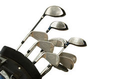 Golf Clubs on White. Set of Golf clubs on white background, including irons, metal woods and a putter in a golf bag stock photo