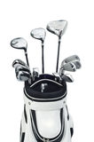 Golf clubs in a white bag on white background. Golf clubs white bag  white background Stock Photography