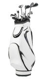 Golf clubs in white and black bag isolated on white Royalty Free Stock Photo