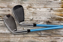 Golf clubs on wood Stock Image
