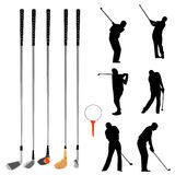 Golf collection. Set of golf players and objects vector Stock Photos