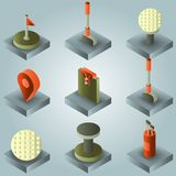 Golf color gradient isometric set. Vector illustration, EPS 10 royalty free illustration