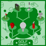 Golf color isometric concept icons. Vector illustration, EPS 10 Royalty Free Stock Photos