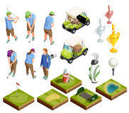 Golf Colored Isometric Decorative Icons Royalty Free Stock Images