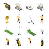 Golf Colored Isometric Isolated Icons Royalty Free Stock Photos