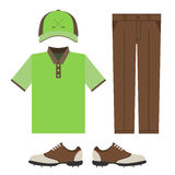 Golf colorful clothes set. Polo t-shirt, cap, pants and shoes. Sports uniform. Vector illustration isolated on white background for your web site design Stock Photo