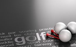 Golf concept, balls and tees over black background
