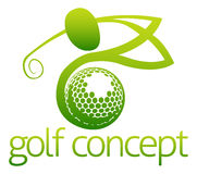 Golf concept. An illustration of an abstract golfer swinging his golf club and golf ball flying concept design Royalty Free Stock Photo