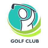 Golf country club logo template or icon for tournament. And championship. Vector symbols of victory goblet or champion winner cup award Stock Photo