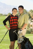 Golf Couple Standing Together On Course Stock Photos