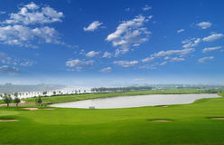 Golf Course. A beautiful golf field in city Stock Image