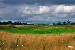 Golf course. A golf course amid farmland Stock Image