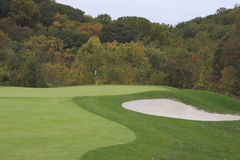 Golf Course. In Autumn with bunker Royalty Free Stock Photos