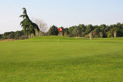 Golf course. Green golf course with flag number seven Royalty Free Stock Photo