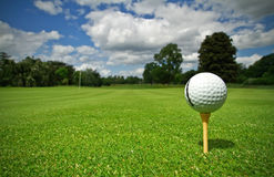 Golf course. Ball view for the golf course with flag Royalty Free Stock Photos