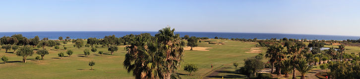 Golf Course. Panoramic landscape of a golf course on the coastline Stock Photography