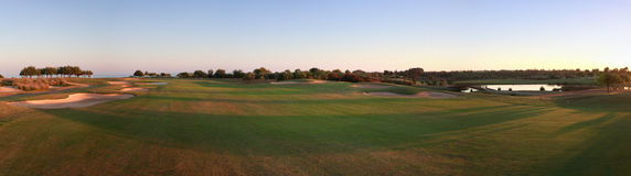 Golf Course. A panoramic picture of a golf course Royalty Free Stock Photography