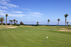 Golf course. Against the sea Royalty Free Stock Photo
