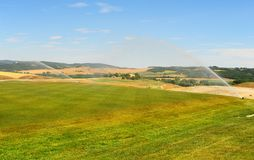 Golf Course. Construction Area Of The Golf Course In Tuscany, Italy royalty free stock photography