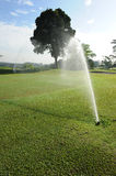 Golf Course. With water sprinkle Stock Image