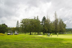 Golf course. Beautiful golf course landscape with sky and clouds Stock Image