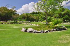 Golf course. In tropical resort, Xcaret, Mexico Royalty Free Stock Photography