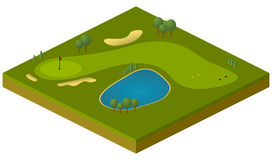 Golf course. Vector isometric model of golf course Stock Photography