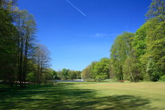 Golf course. Fairway of a golf course with green Royalty Free Stock Images