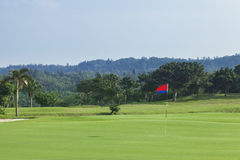Golf course. Green field of a golf course Royalty Free Stock Photos