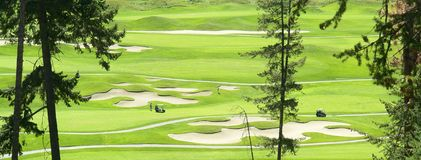 Golf Course. Fairways and sand traps Royalty Free Stock Photo