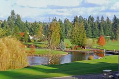 Golf Course. American Houses in the golf community Royalty Free Stock Photos
