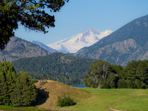 Golf course. In Bariloche, with snowy Mount Tronador in the background - Patagonia - Argentina Royalty Free Stock Images