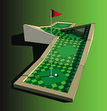 Golf course. Vector illustration of golf course with red flag Royalty Free Stock Photos