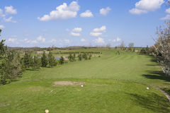 Golf course. Fairway of golf course, wiew from tee box Royalty Free Stock Image