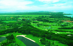 Golf course. A beautiful golf course side by an airport Stock Photos