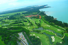Golf course. A beautiful golf course side by an airport Royalty Free Stock Photography