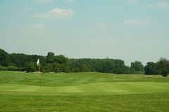 Golf Course. View from the green back down the fairway Stock Photography