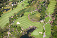 Golf Course. Aerial view of golf course in luxury resort in Mauritius Royalty Free Stock Photography