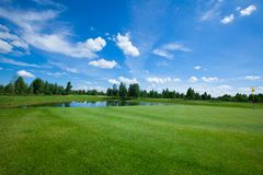 Golf course active leisure. Golf club field grass course active leisure royalty free stock images