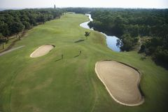 Golf course aerial. Royalty Free Stock Images