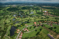 Golf course aerial photography. Golf club photography from the air Royalty Free Stock Image