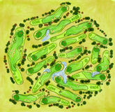 Golf course aerial view. Golf course layout with flags, trees, plants, water hazard, sand bunker. Aerial view. Raster image Stock Images